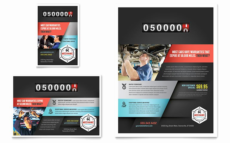 1/4 Page Flyer Template Free Awesome Auto Mechanic Flyer & Ad Template Word & Publisher