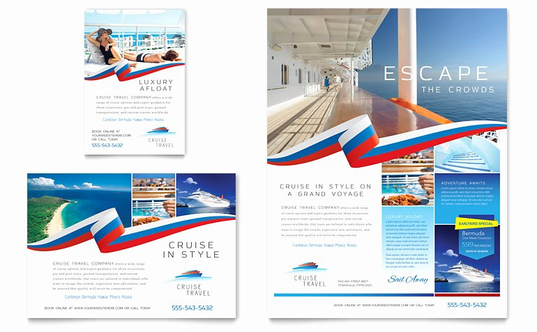 1/4 Page Flyer Template Free Awesome Cruise Travel Flyer & Ad Template Word & Publisher