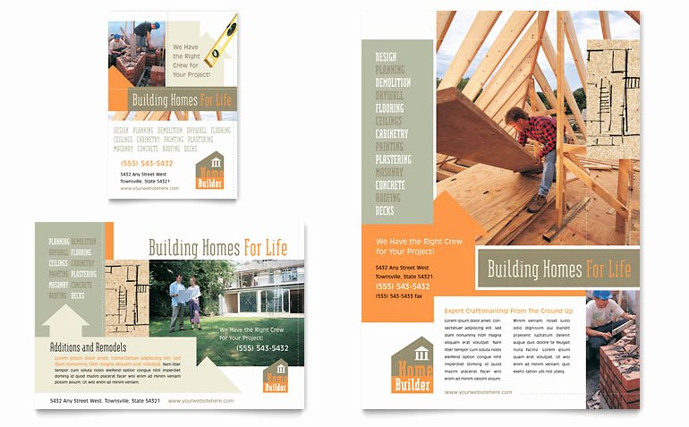 1/4 Page Flyer Template Free Inspirational Home Building Carpentry Flyer & Ad Template Word & Publisher