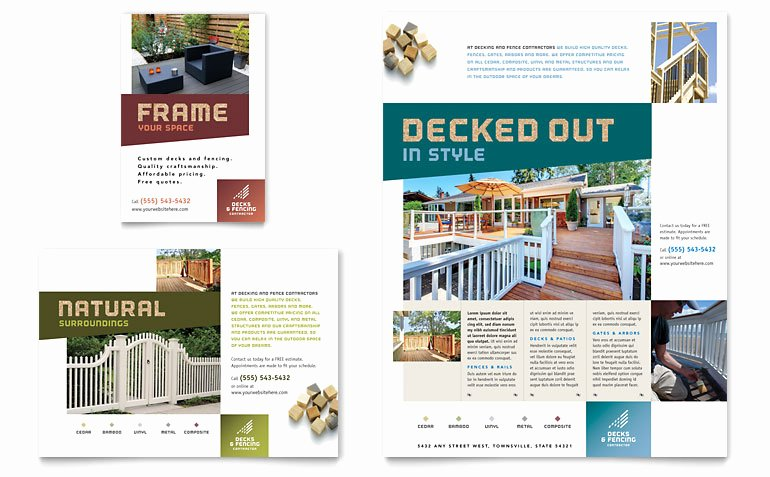 1/4 Page Flyer Template Free Lovely Decks & Fencing Flyer & Ad Template Word & Publisher