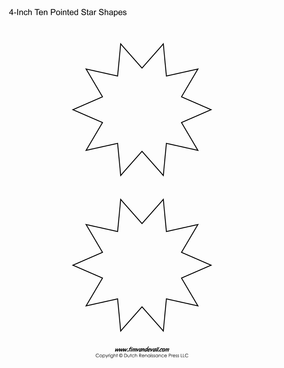 10 Inch Star Template Elegant Blank Ten Pointed Star Shapes