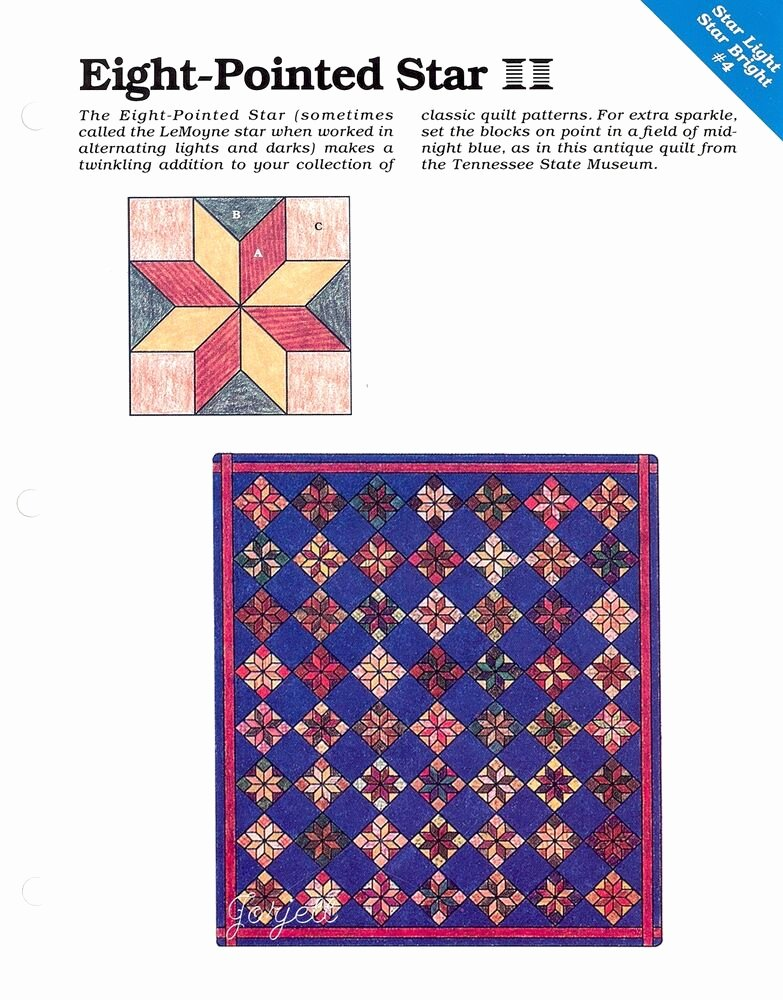 10 Inch Star Template Elegant Eight Pointed Star Quilt & Block Spinning Spools Quilt