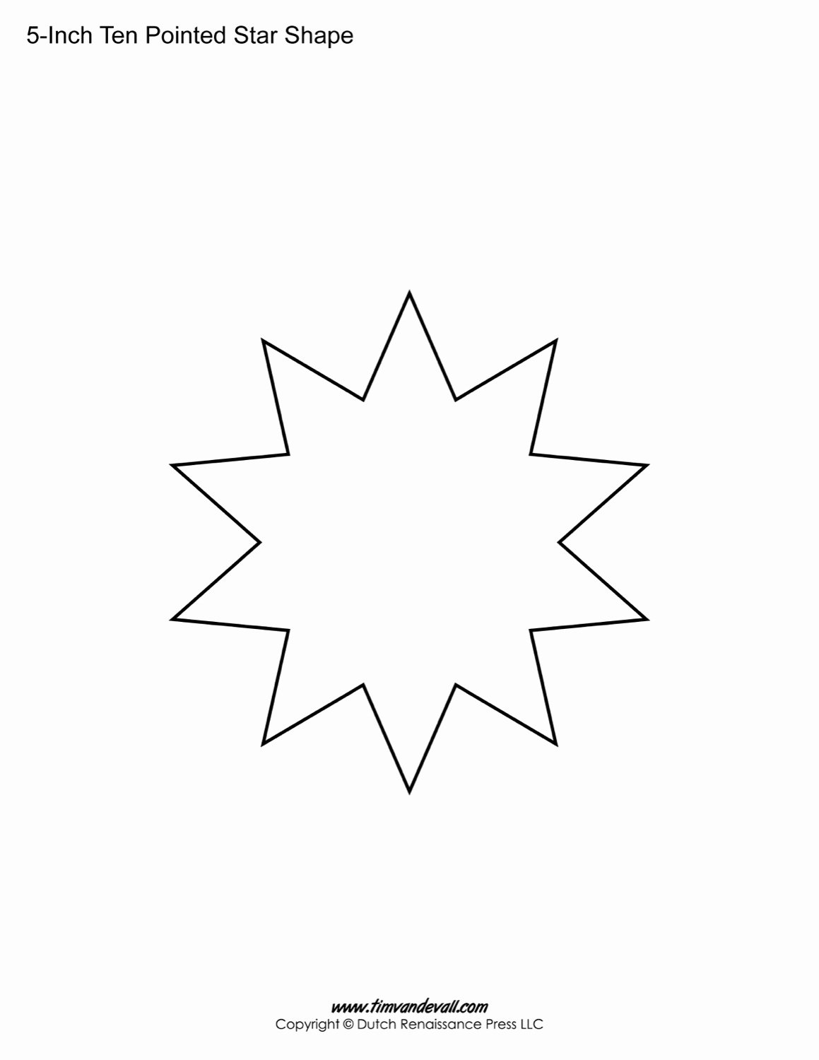 10 Inch Star Template Fresh Blank Ten Pointed Star Shapes