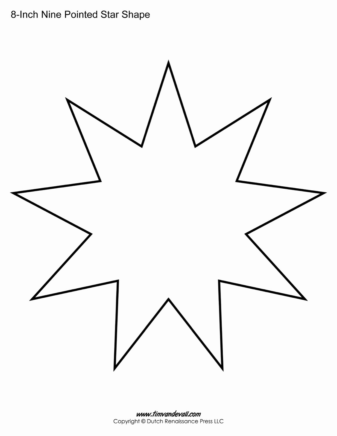 10 Inch Star Template Luxury Free Printable Nine Pointed Star Templates