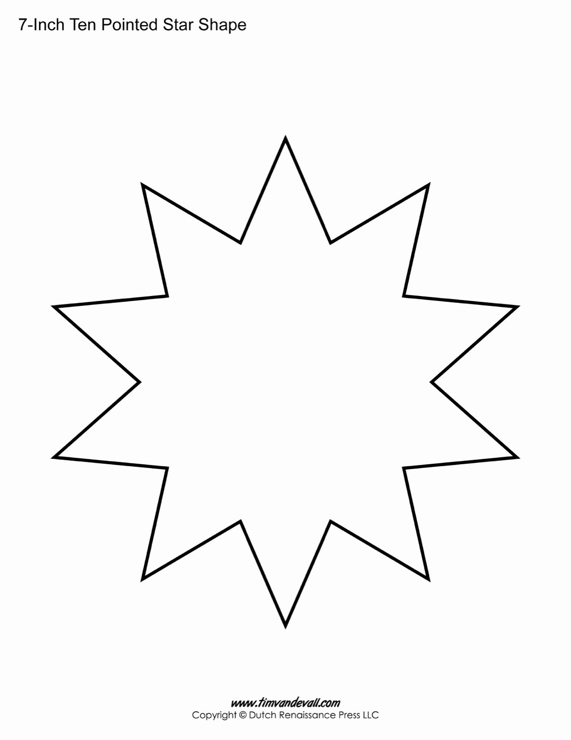 10 Inch Star Template Unique Blank Ten Pointed Star Shapes