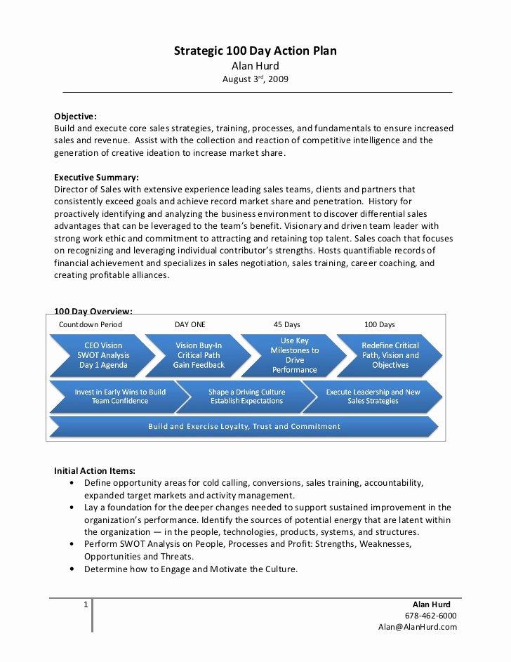 100 Day Plan Template Elegant Alan Hurd Strategic 100 Day Action Plan Example