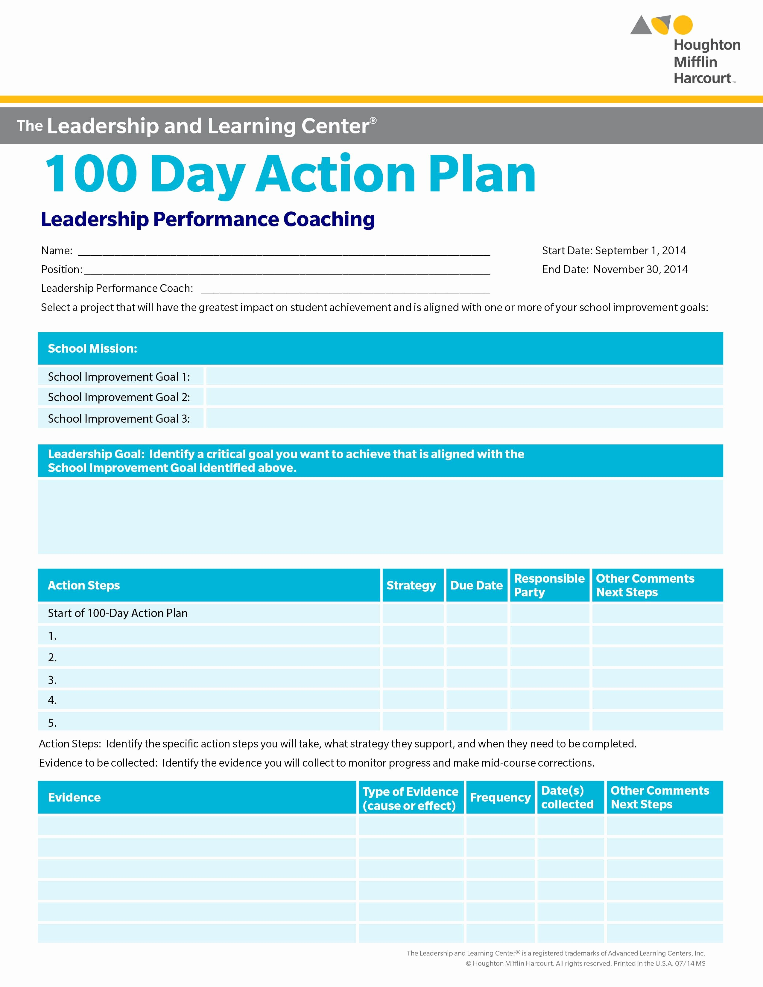100 Day Plan Template Lovely School Improvement 100 Day Action Plan Select A Goal for