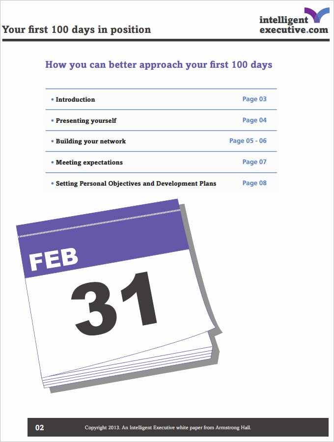 100 Day Plan Template New 100 Day Plan Template 3 Free Pdf Documents Download