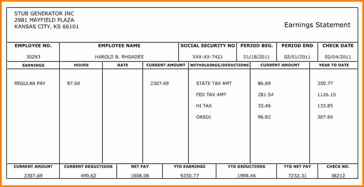 1099 Pay Stub Template Excel Awesome 10 Pay Stub Template for 1099 Employee