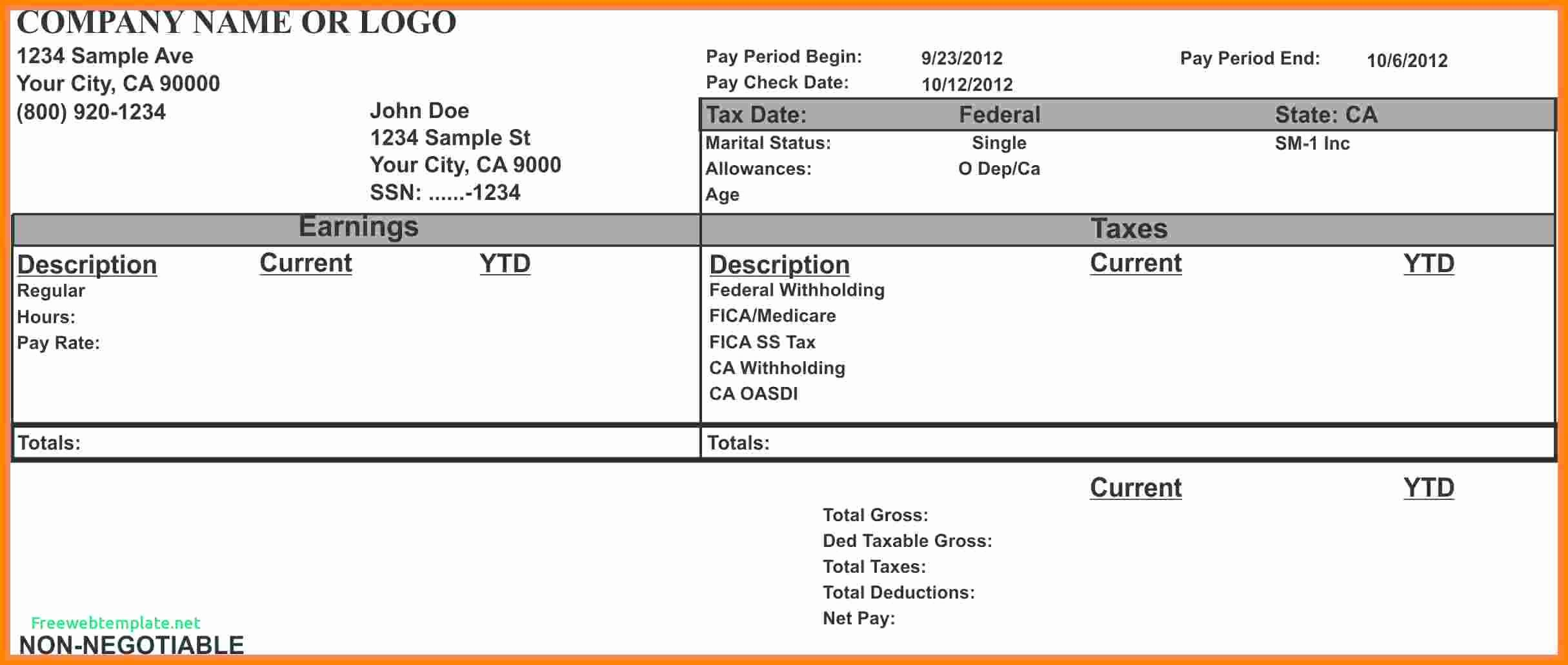 1099 Pay Stub Template Excel New 7 Paycheck Stub Template for Excel