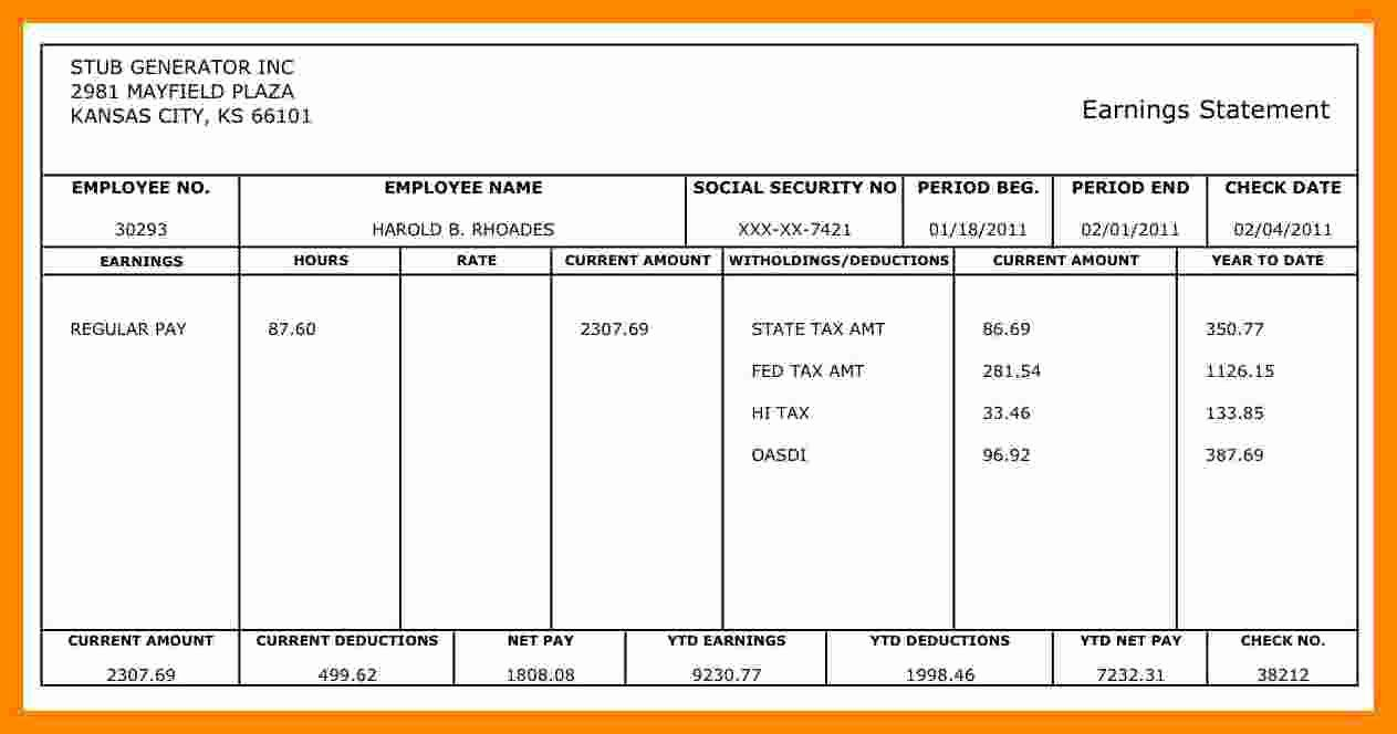 1099 Pay Stub Template Excel New 9 Free 1099 Pay Stub Template