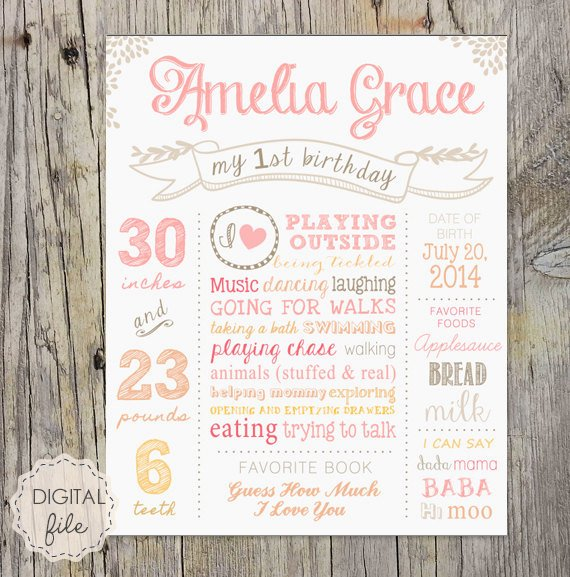 1st Birthday Chalkboard Sign Template Free Awesome 1st Birthday Chalkboard Printable Poster White Pink soft