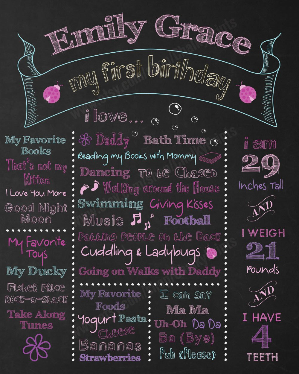 1st Birthday Chalkboard Sign Template Free Beautiful First Birthday Chalkboard Sign Personalized & Printable