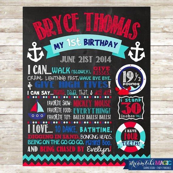 1st Birthday Chalkboard Sign Template Free Elegant 1st Birthday Chalkboard Digital File Birthday Stats