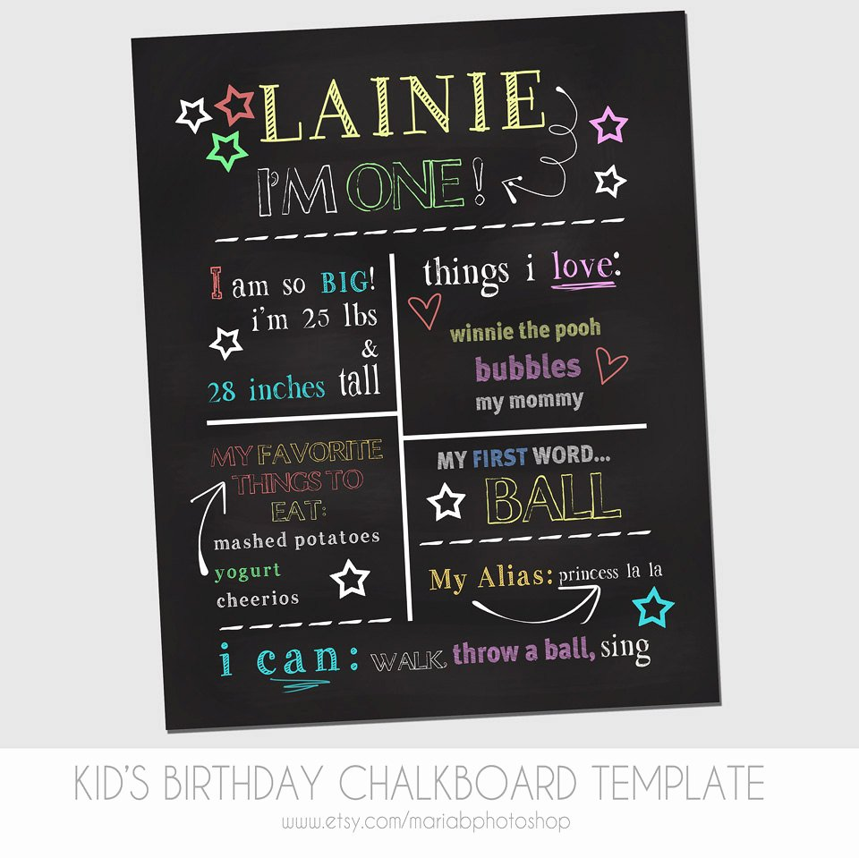 1st Birthday Chalkboard Sign Template Free Elegant Child S First Birthday Chalkboard Template Marketing
