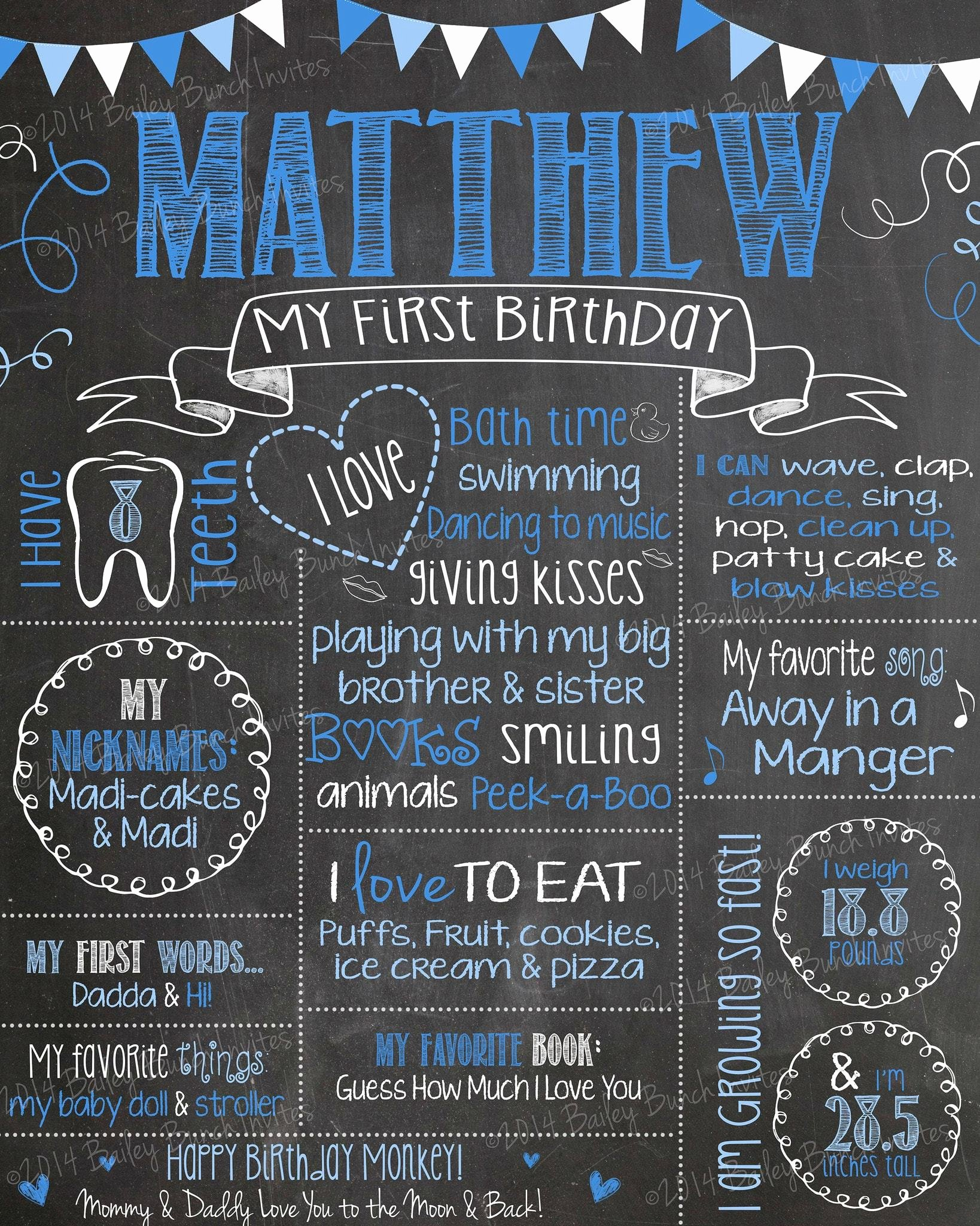 1st Birthday Chalkboard Sign Template Free Inspirational Milestone Birthday Chalkboard You Choose Colors First