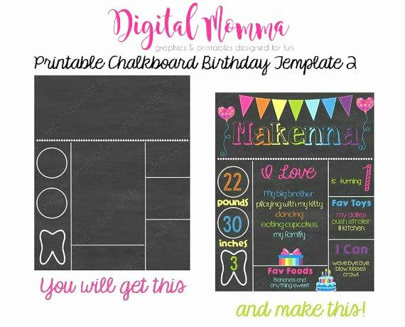1st Birthday Chalkboard Sign Template Free Unique Printable Chalkboard Birthday Template Personal & Mercial
