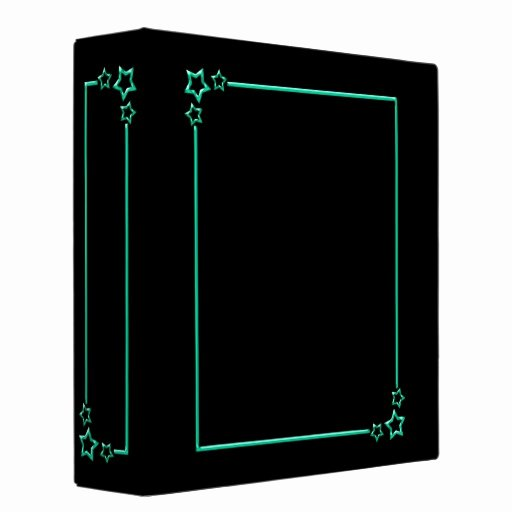 2 Inch Star Best Of Star Border Teal 2 Inch 3 Ring Binder
