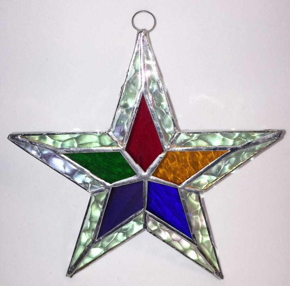 2 Inch Star Lovely Lot Of 5 5 1 2 Inch Stained Glass Stars Iridescent