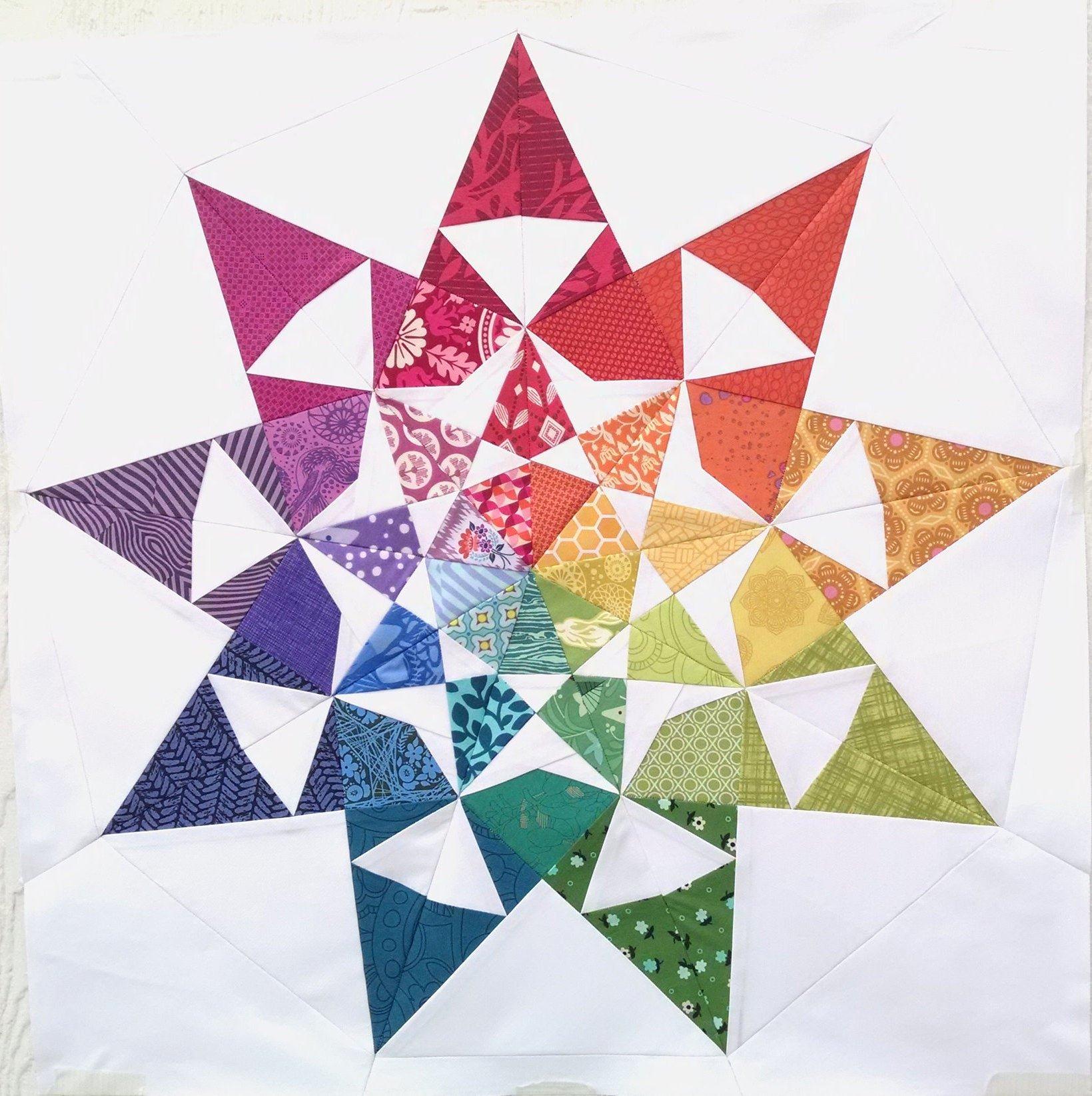 2 Inch Star Luxury 2 Sizes 18 Inch & 24 Inch Modern Star Quilt Pattern Dusk