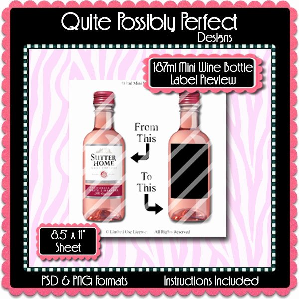 2 Liter Bottle Label Template Fresh 187ml Mini Wine Bottle Label Preview Template Set Instant