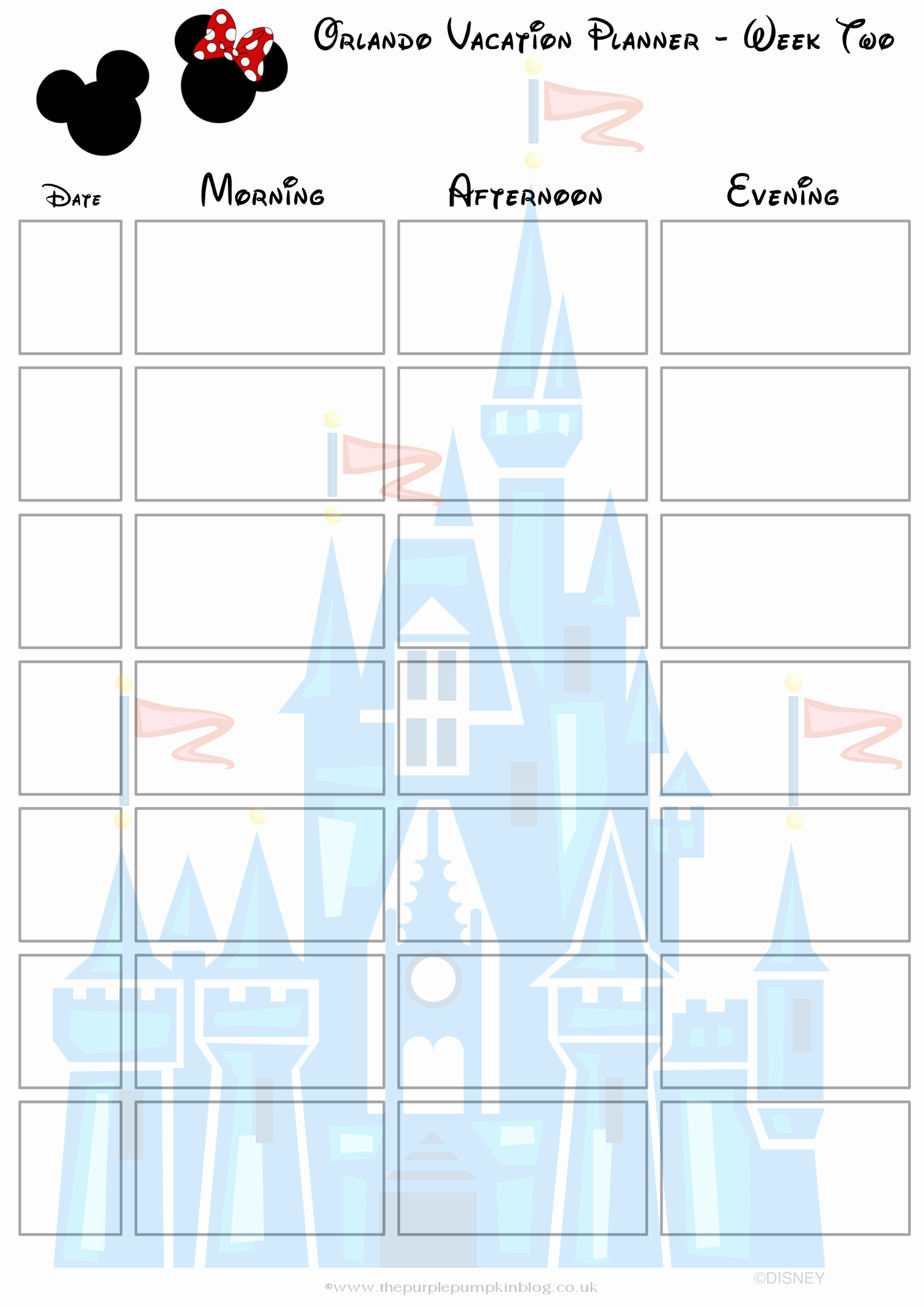 2 Week Calendar Printable Inspirational orlando Walt Disney World Vacation Planner