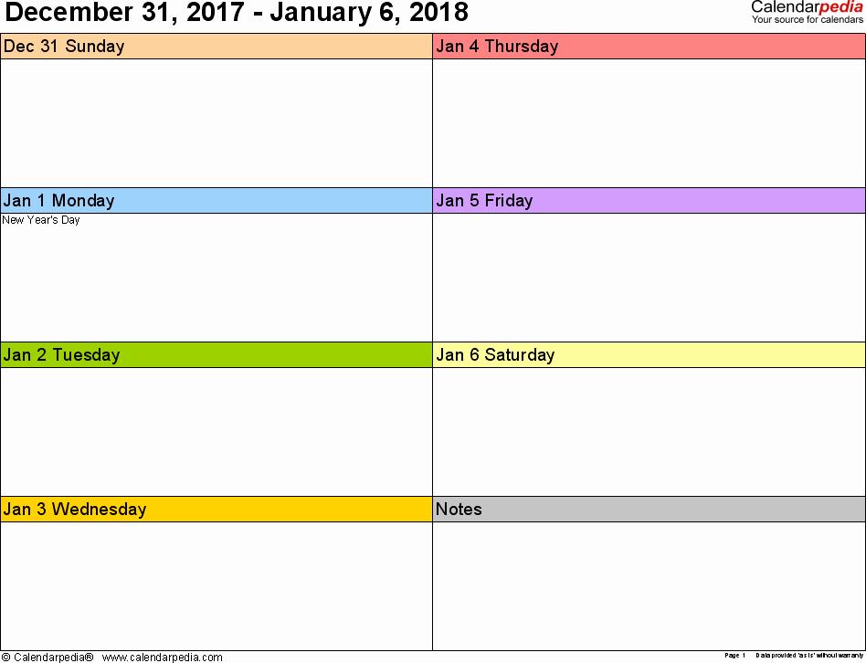 2 Week Calendar Printable Inspirational Weekly Calendar 2018 for Word 12 Free Printable Templates