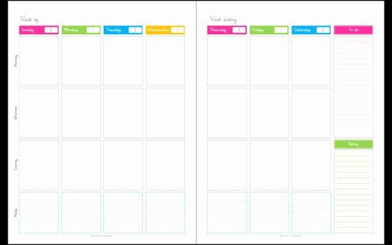 2 Week Calendar Printable New Calendar Any Year Unfilled Blank1 Week 2 Page Spread