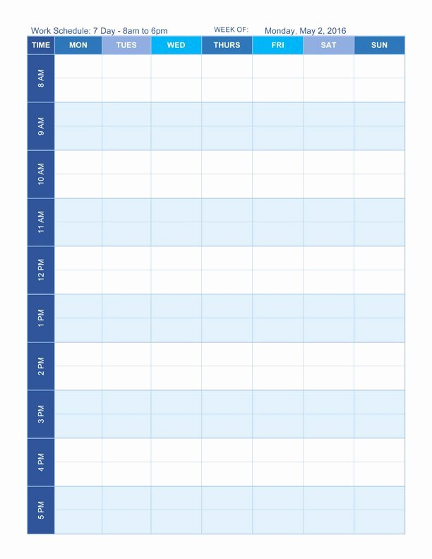 2 Week Schedule Template Awesome Free Work Schedule Templates for Word and Excel