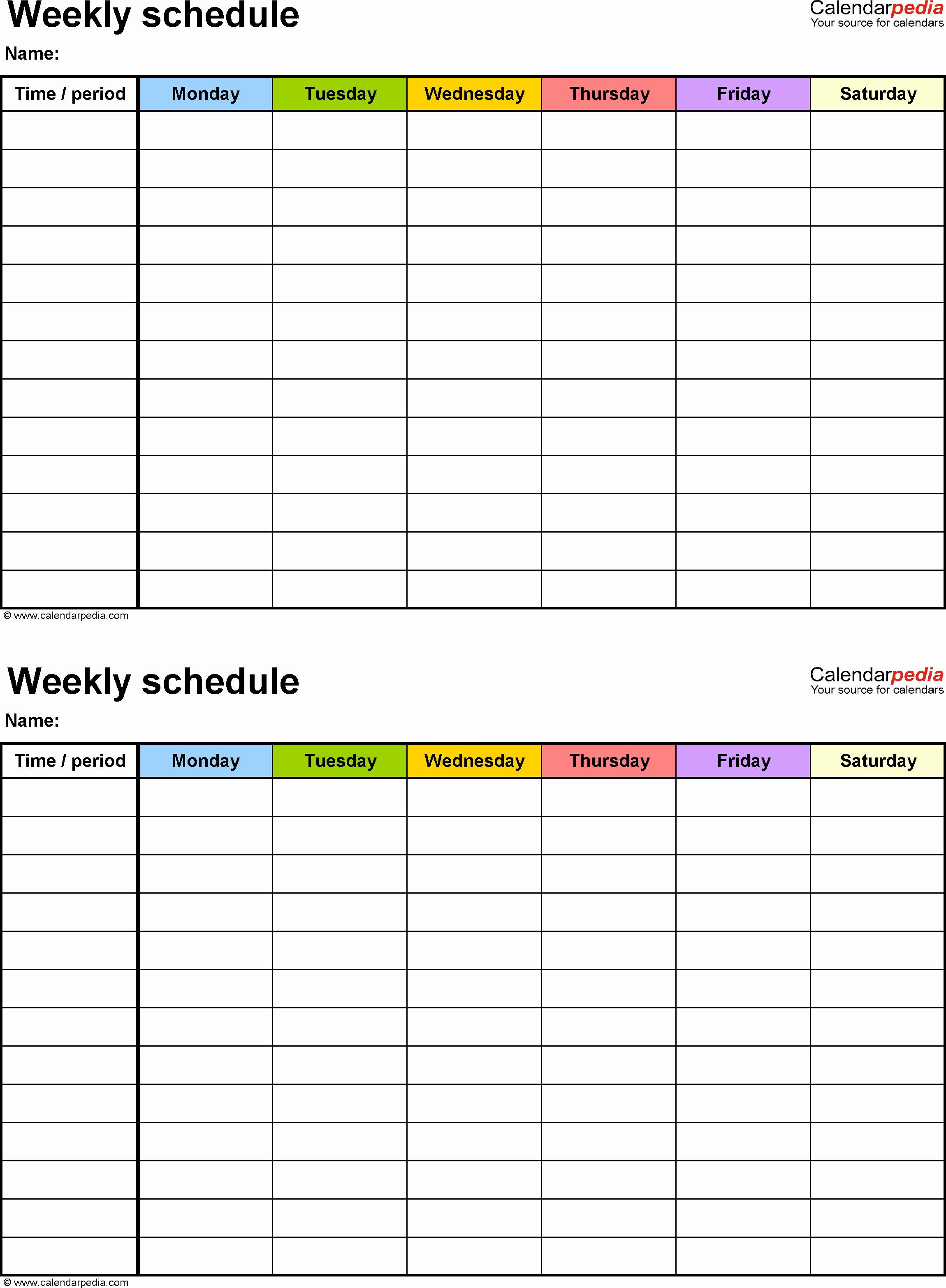 2 Week Schedule Template Elegant Free Weekly Schedule Templates for Pdf 18 Templates