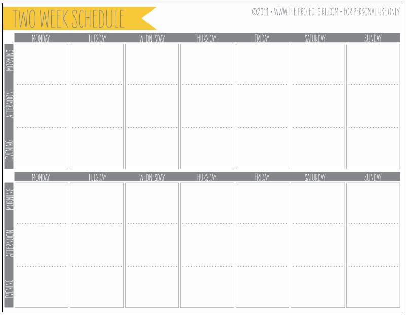2 Week Schedule Template Fresh organization