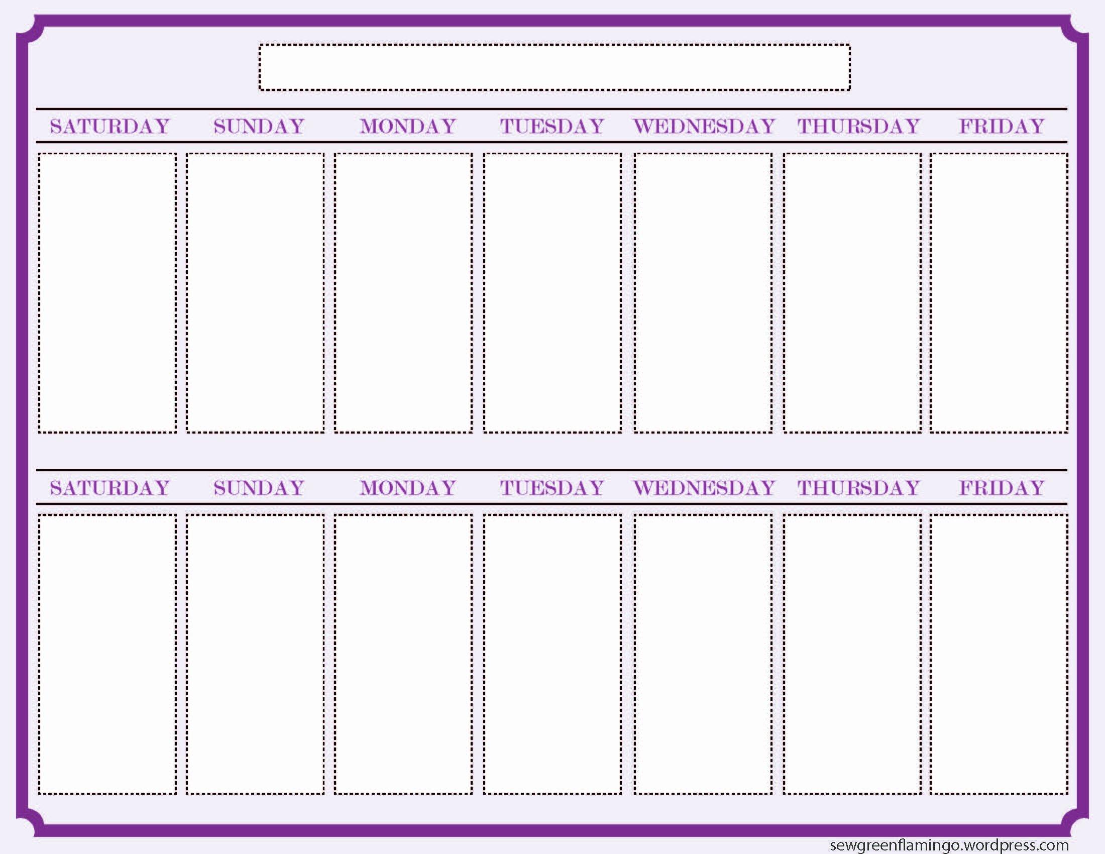 2 Week Schedule Template Inspirational Getting organized 2 Week Planner