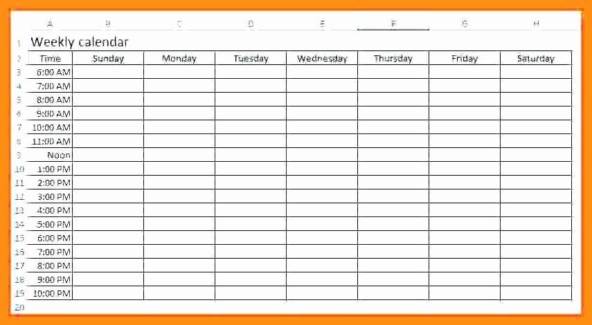 2 Week Schedule Template Luxury 12 13 Week Calendar with Times