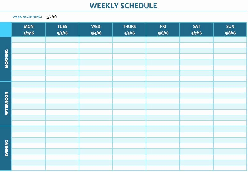 2 Week Schedule Template New Free Weekly Schedule Templates for Excel Smartsheet