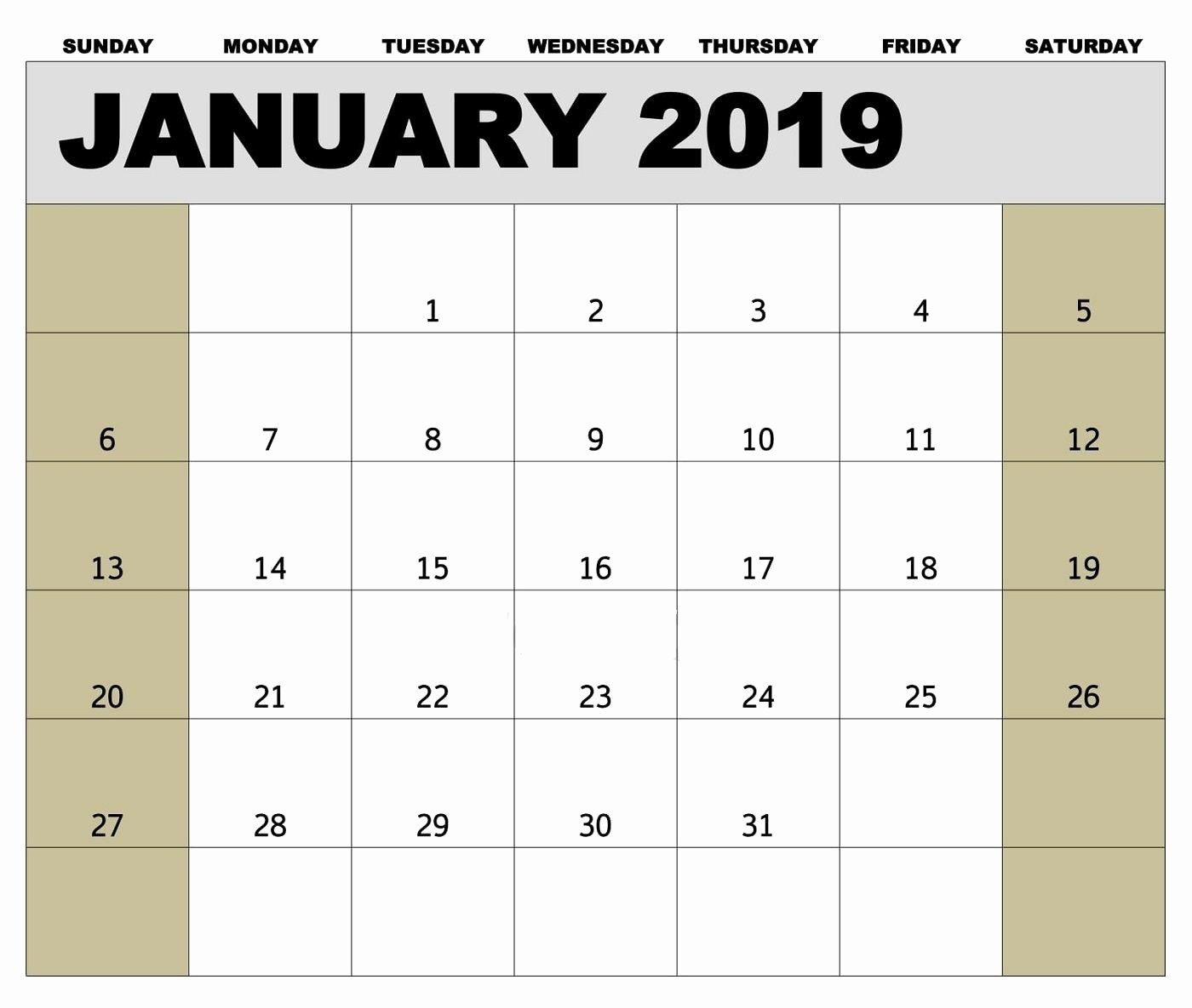 2019 Biweekly Payroll Calendar Excel Awesome 2019 Calendar January Canada Printable Blank Archives