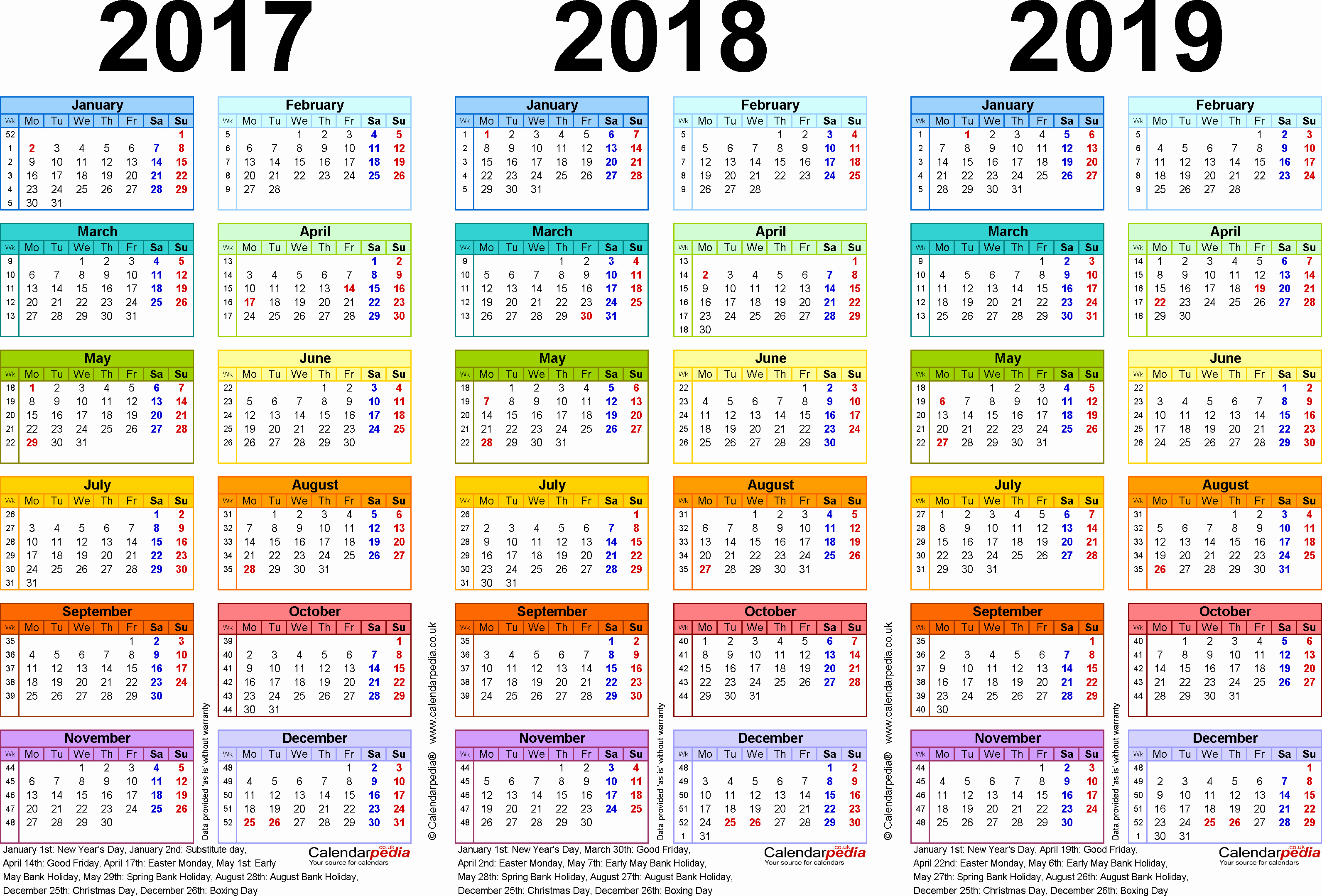 2019 Biweekly Payroll Calendar Excel Luxury Three Year Calendars for 2017 2018 & 2019 Uk for Pdf
