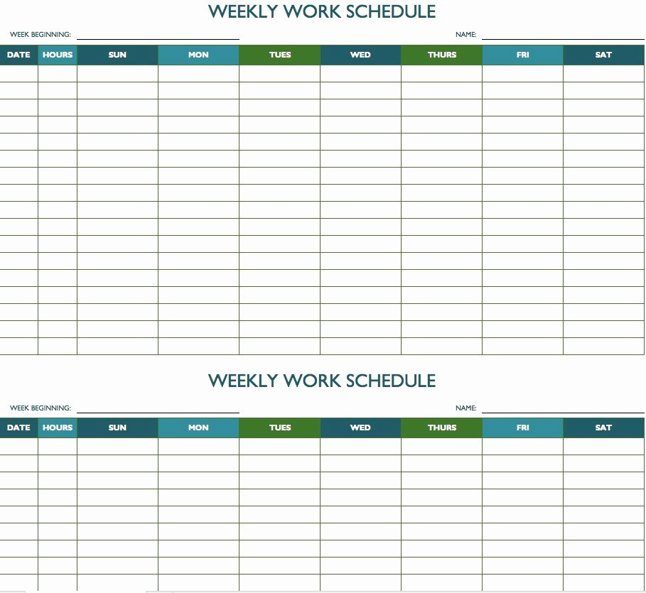 2019 Biweekly Payroll Calendar Template Excel Beautiful Free Weekly Schedule Templates for Excel Smartsheet