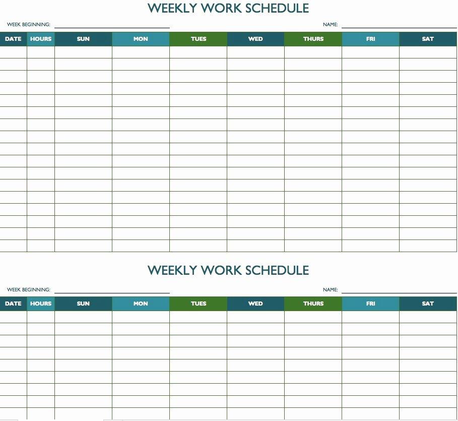 2019 Biweekly Payroll Calendar Template Excel Beautiful Free Weekly Schedule Templates for Excel Smartsheet