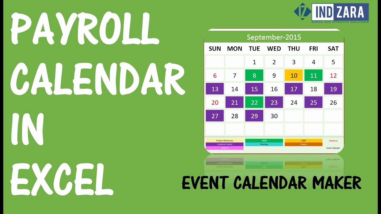 2019 Biweekly Payroll Calendar Template Excel Beautiful Weekly Payroll Calendar for 2019