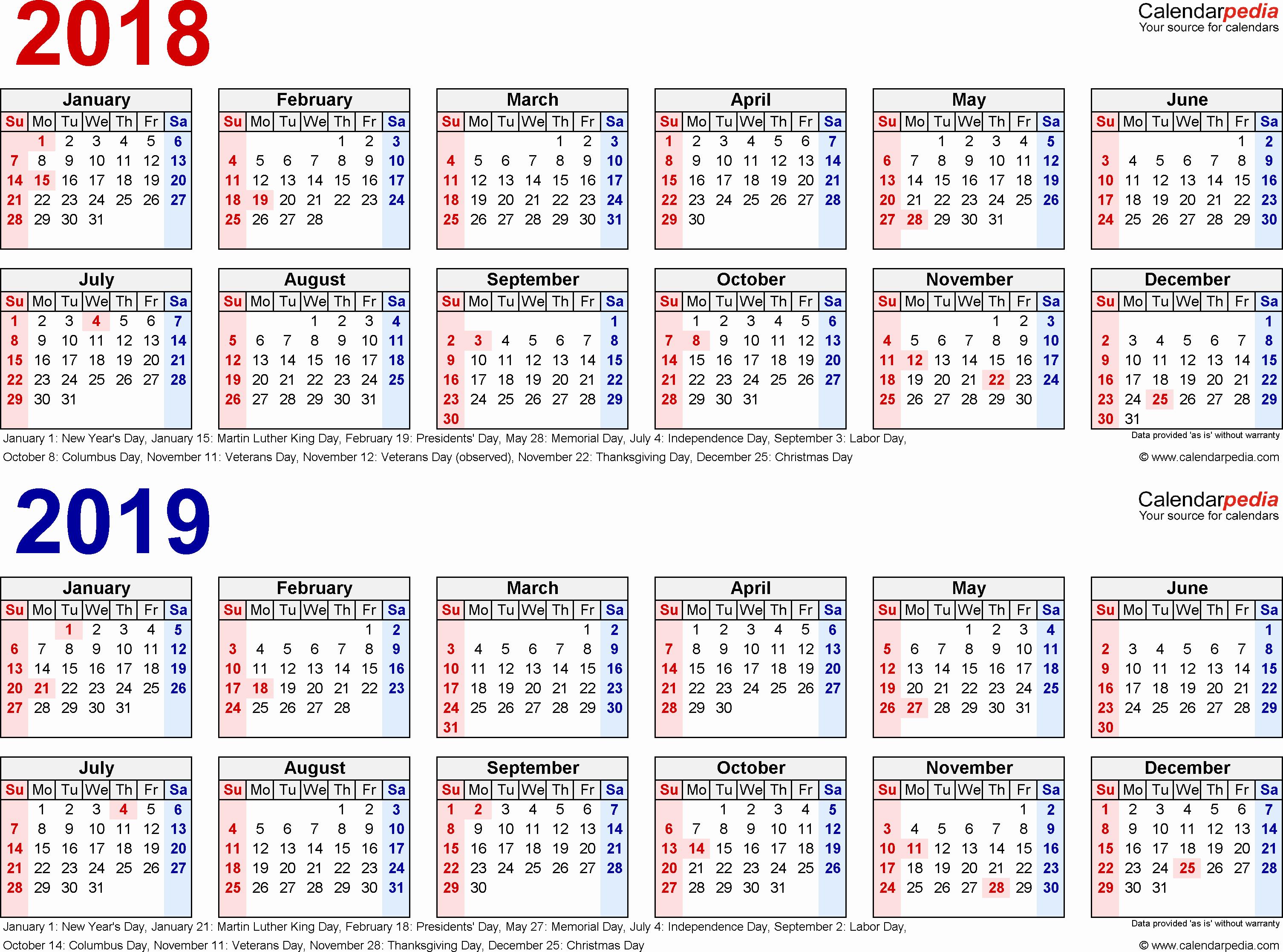 2019 Biweekly Payroll Calendar Template Excel Fresh 2018 2019 Calendar Free Printable Two Year Excel Calendars