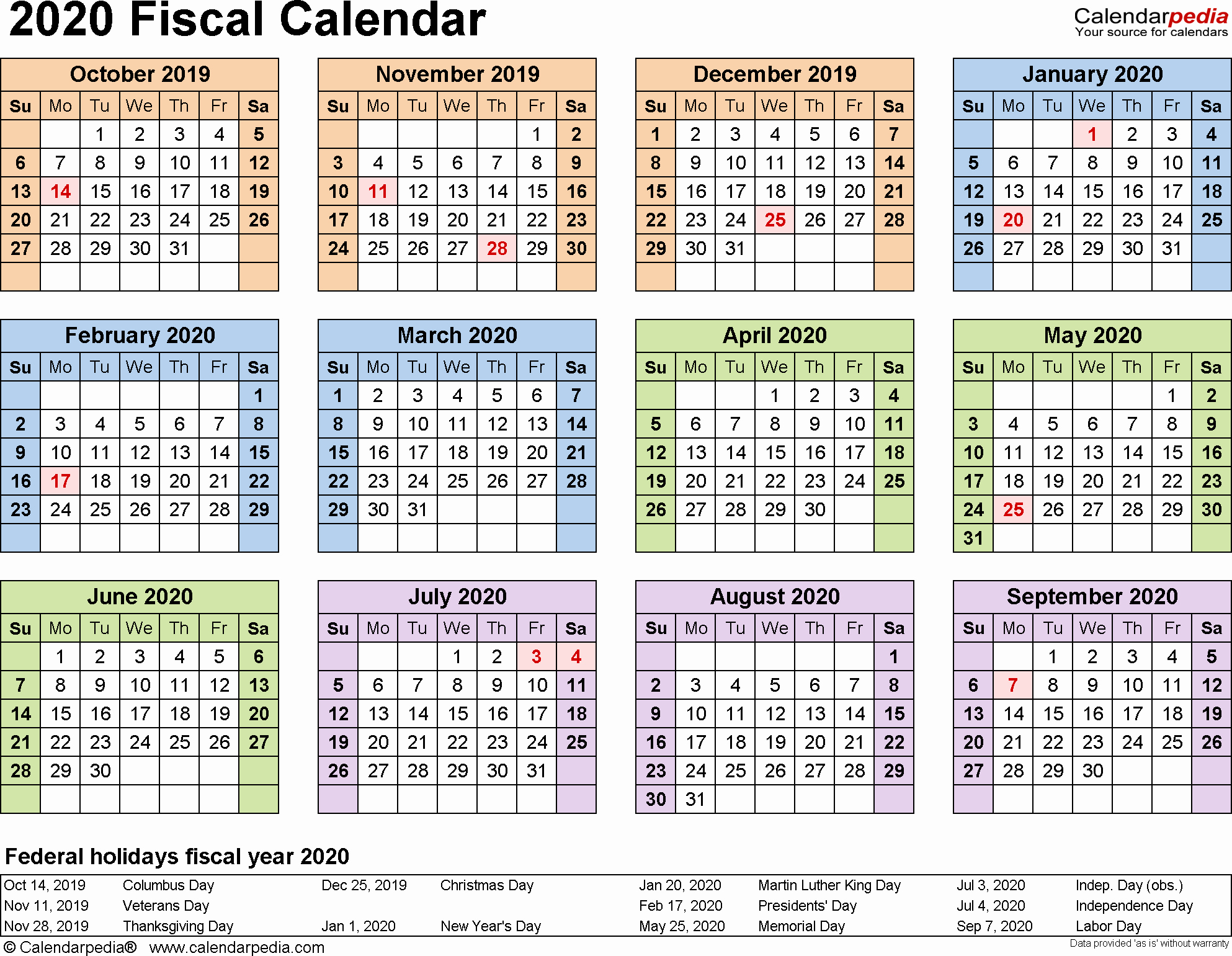 2019 Biweekly Payroll Calendar Template Excel New Fiscal Calendars 2020 as Free Printable Excel Templates