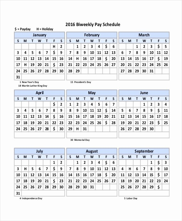 2019 Biweekly Payroll Calendar Template New Payroll Calendar Template 10 Free Excel Pdf Document