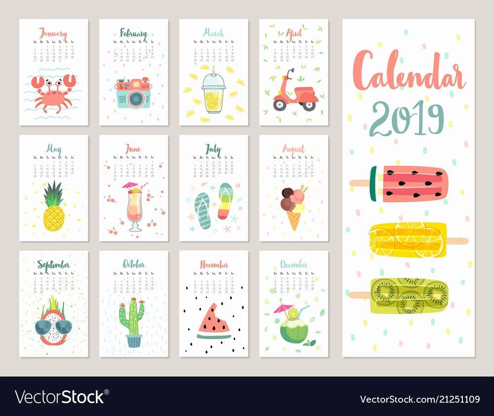 2019 Cute Calendar Printable Awesome Calendar 2019 Cute Monthly Calendar with Vector Image