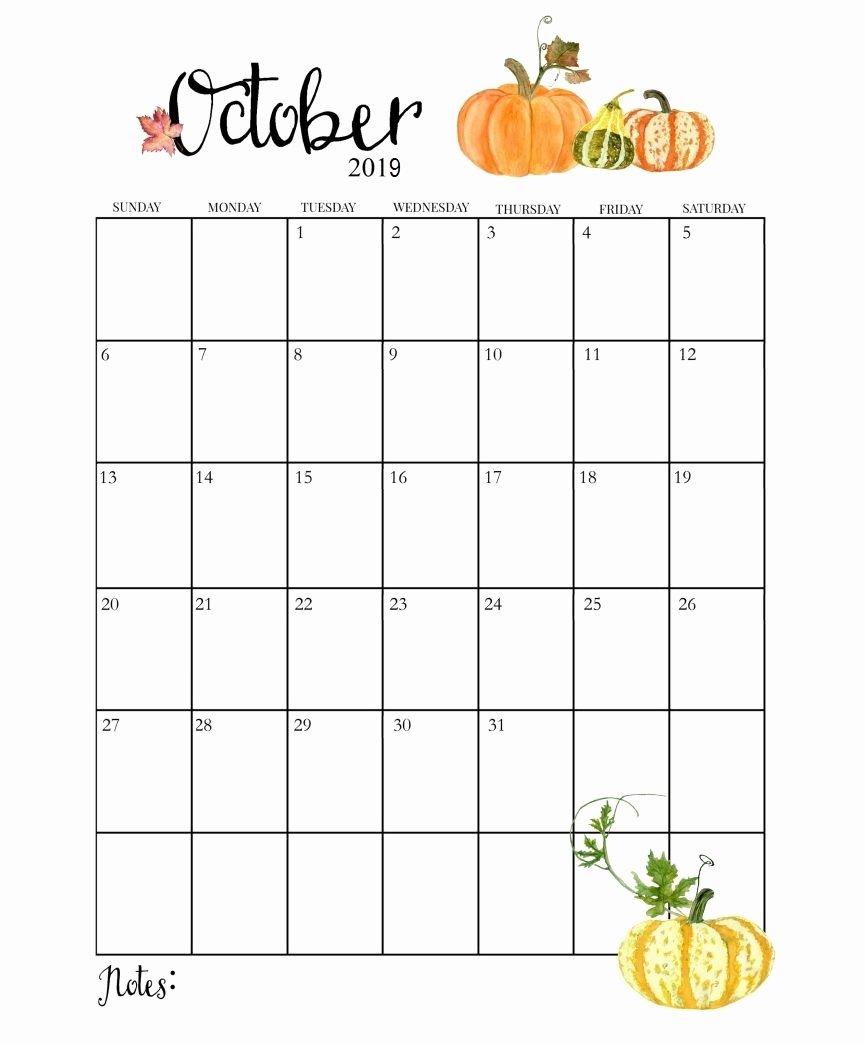 2019 Cute Calendar Printable Beautiful Cute October 2019 Calendar