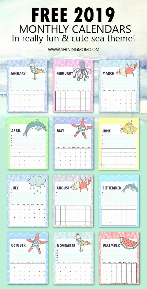 2019 Cute Calendar Printable Beautiful Free 2019 Calendar Printable In Cute and Happy Print