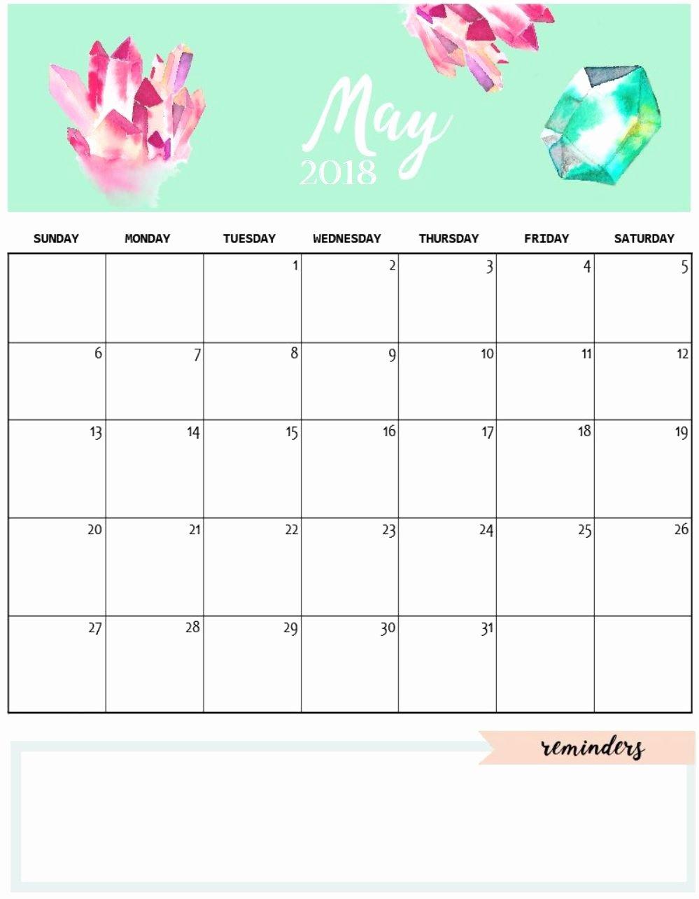 2019 Cute Calendar Printable Best Of Cute May 2018 Calendar Template Calendars