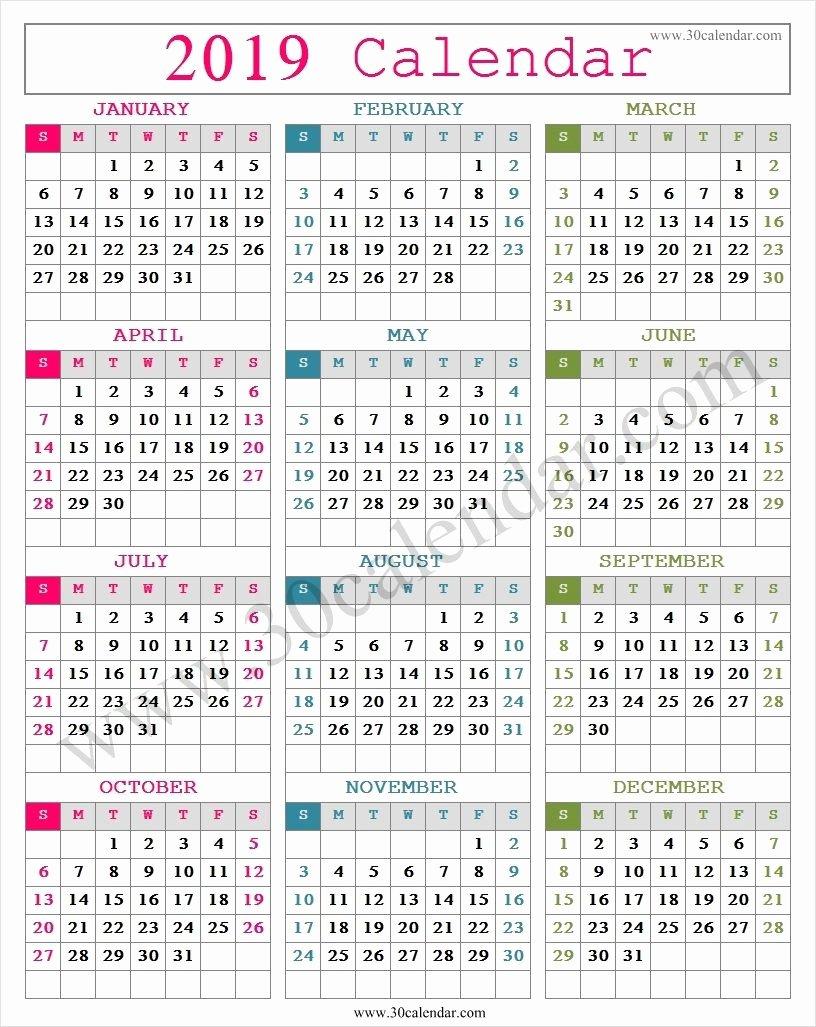 2019 Cute Calendar Printable Elegant Cute 2019 Calendar Printable