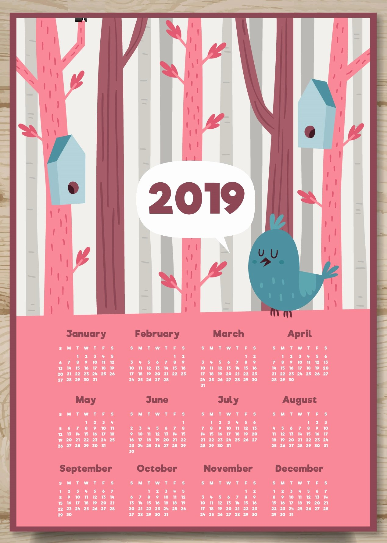 2019 Cute Calendar Printable Fresh Cute 2019 Printable Calendar
