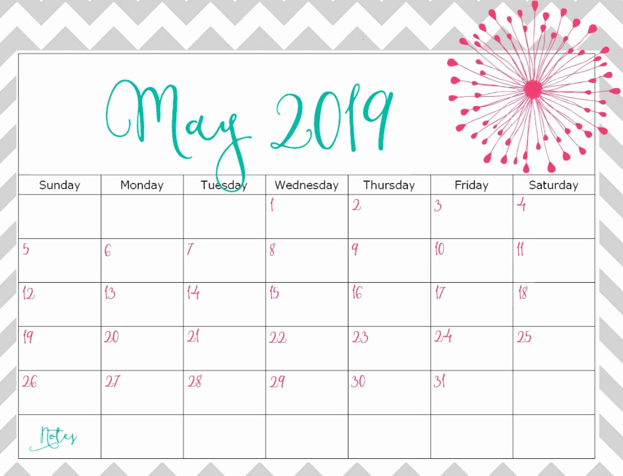 2019 Cute Calendar Printable Fresh Cute May 2019 Calendar Printable for Kids
