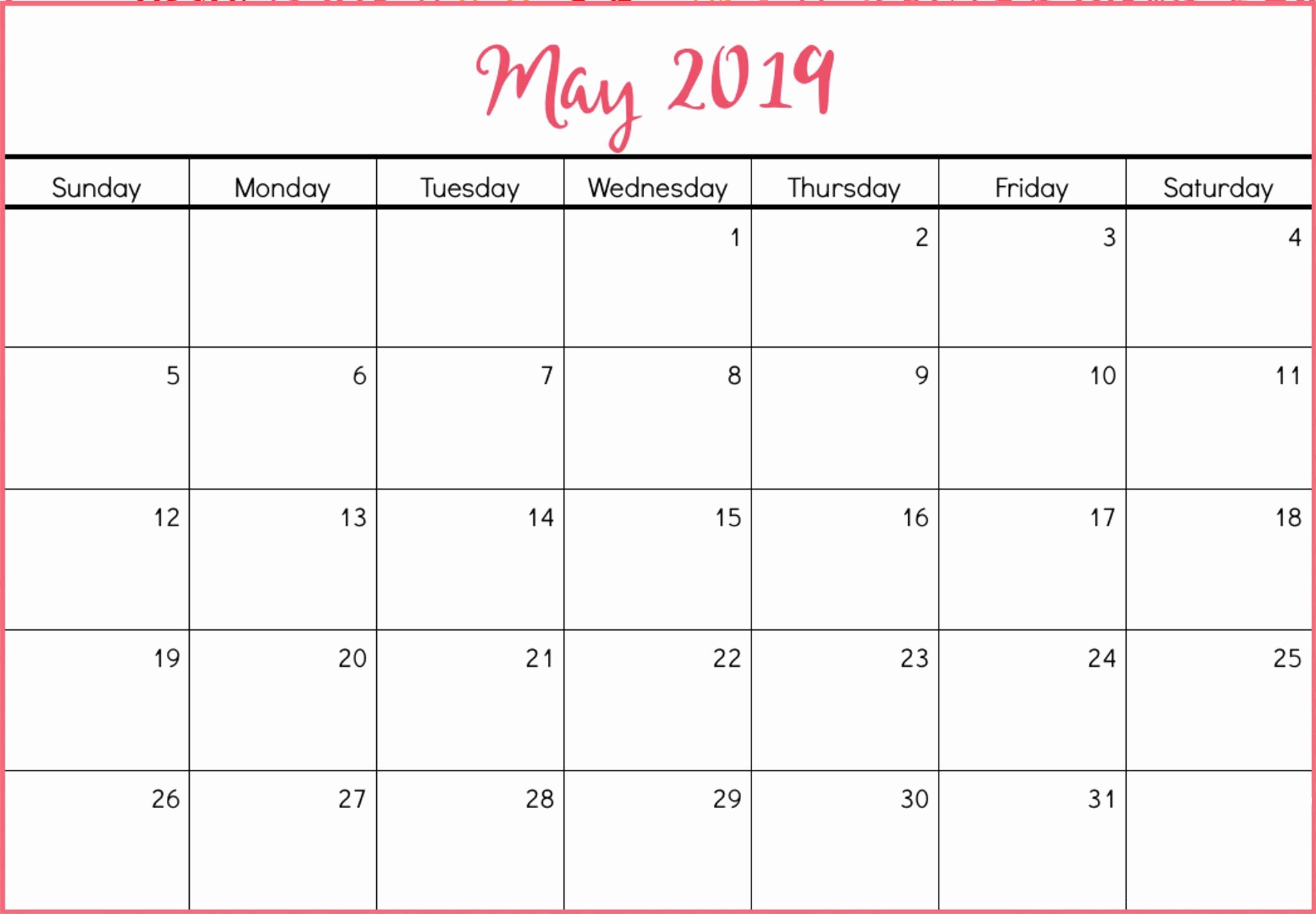 2019 Cute Calendar Printable Fresh Free May 2019 Calendar Template Word – Free Printable